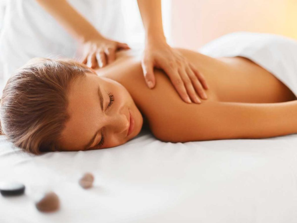 Woman getting a massage at San Diego Mission Bay spa